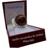 Anillo Plata 925 Con Piedra De Ambar