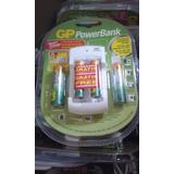 Cargador Gp Powerbank Baterias Recargables Incluye 4 Pilas