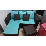 Mueble L De 3 Personas En Azul Celeste Y Negro Microfibra