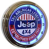 Jeep 4 X 4 La Leyenda Americana 16 Azul Neón Publicidad Relo