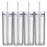 Set De 4 Vasos Transparentes Altos Y Flacos Vasos Acrilicos