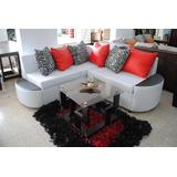 Mueble Moderno L En Vinil Con Decorativos