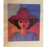 Serigrafía En Tela Cándido Bidó - Mujer Con Sombrero