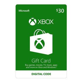 Xbox One Y 360 Live Store 30 Usd Codigo Digital Para Juegos