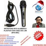 Microfono Myo Alambrico Plastico Con Cable De 1.5m (myo-mic)