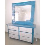 Gabeteros Tapizados Azul Con Espejos