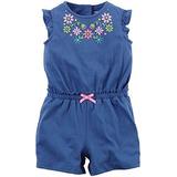 Carters Baby Girl 1pc Mameluco Azul Con Bordado Multicolor