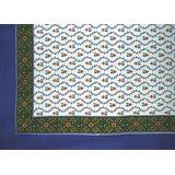 India Arts Buti Print Mantel Cuadrado De Algodon 70 X 70 Azu